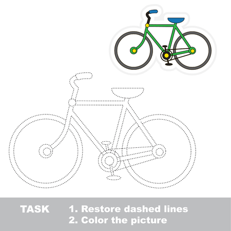Bicycle. Dot to dot educational tracing game for preschool kids. Ilustração