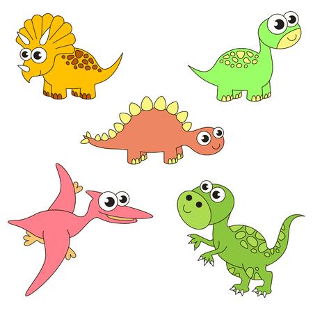 Enorme dinosaurus dino elementen instellen, verzameling van kleuren boek sjabloon, de groep van overzicht digitale elementen vector illustratie, kid spel pagina.