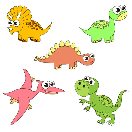 Tremendous dinosaurus dino elements set, collection of coloring book template, the group of outline digital elements vector illustration, kid game page. Illustration