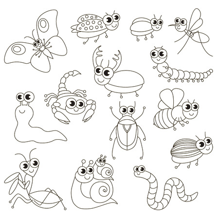 Cute small insects set to be colored, the big coloring book for preschool kids with easy educational gaming level. Illustration