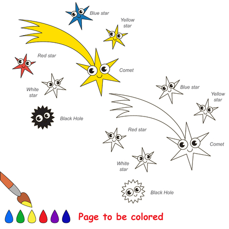 Flying Comet and Red and White Star and Blue and Yellow Star, Black Hole to be colored, the coloring book for preschool kids with easy educational gaming level. Stock Vector - 75152418