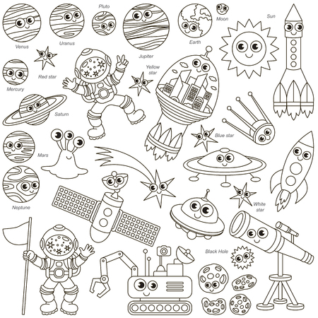 Colorless Space Kid elements set, collection of coloring book template, the group of outline digital elements vector illustration, kid game page. Illustration