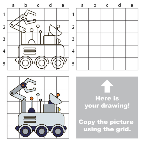 lunar rover: Copy the picture using grid lines, the simple educational game for preschool children education with easy gaming level, the kid drawing game with Lunar Rover
