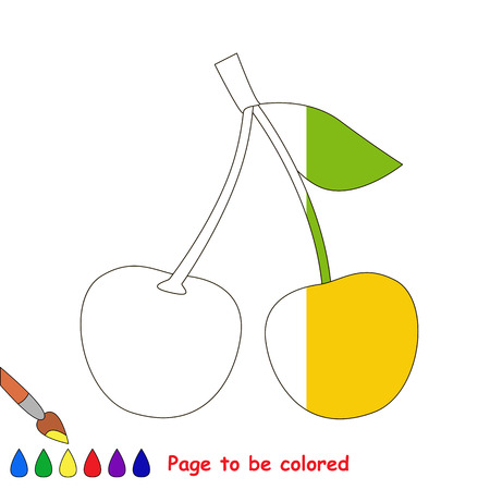 dashed: Two Yellow Cherries in vector to be traced, restore dashed line and color the picture, the simple visual game with easy education game level for preschool kids. Illustration