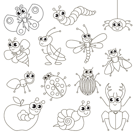 hopper: Cute small insects set to be colored, the big coloring book for preschool kids with easy educational gaming level. Illustration