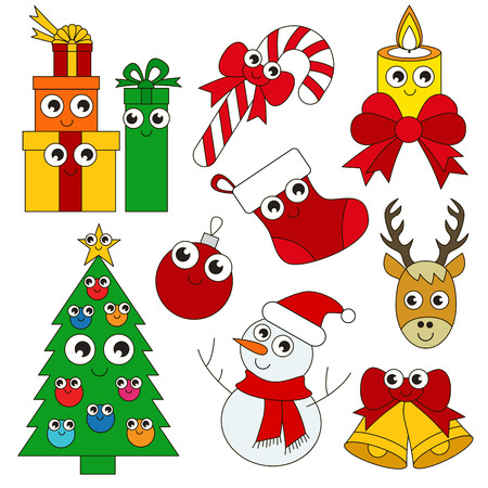 Funny Christmas Holiday elements set, collection of coloring book template, the group of outline digital elements vector illustration, kid game page.
