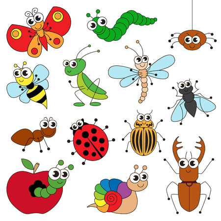 Cute small insects elements set, collection of coloring book template, the group of outline digital elements vector illustration, kid game page.