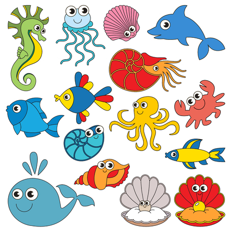 Sea underwater animals elements set, collection of coloring book template, the group of outline digital elements vector illustration, kid game page.