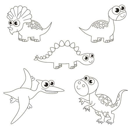 Kleurloze geweldige dinosaurus dino set om in te kleuren, het grote kleurboek voor voorschoolse kinderen met eenvoudig educatief spelniveau.