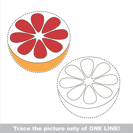 joining the dots: Grapefruit Slice. Dot to dot educational game for kids.