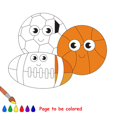 colorless: Different Balls Set, the coloring book to educate preschool kids with easy gaming level, the kid educational game to color the colorless half by sample.
