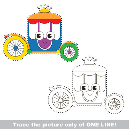brougham: Funny Beautiful Colorful Rainbow Chariot. Dot to dot educational game for kids. Tracing worksheet only of one line.