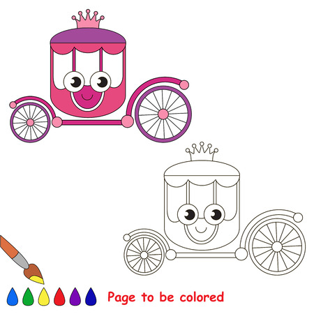 Funny Beautiful Pink Carriage to be colored, the coloring book for preschool kids with easy educational gaming level.