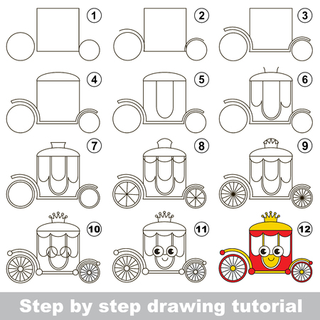 chariot: Kid game to develop drawing skill with easy gaming level for preschool kids, drawing educational tutorial for _ Illustration