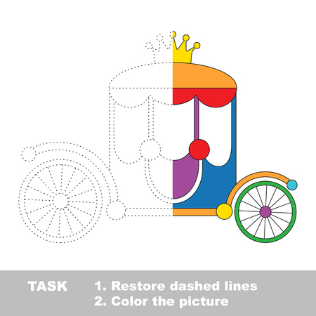 colorless: Colorful princess chariot with gold crown. Dot to dot educational game for kids, task is to trace and color the colorless half.