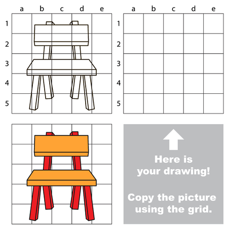 Copy the picture using grid sells, vector kid educational game for preschool kids, the drawing tutorial with easy gaming level for Orange Chair.