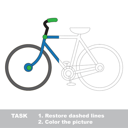 dashed: Two wheeled bicycle. Dot to dot educational game for kids, task is to trace and color the colorless half.