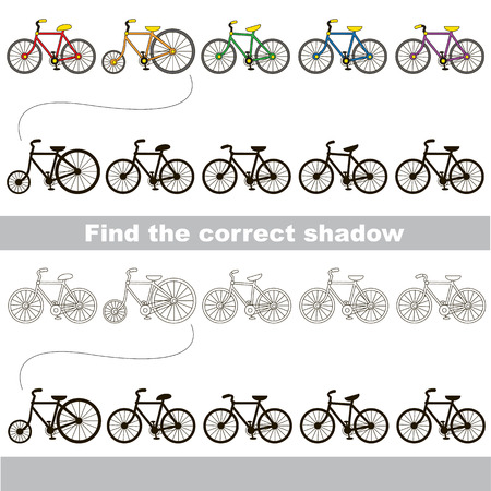 a two wheeled vehicle: _ set to find the correct shadow, the matching educational kid game to compare and connect objects and their true shadows, simple gaming level for preschool kids.