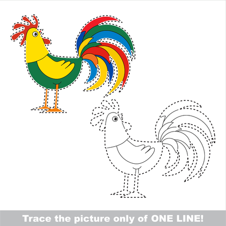 joining the dots: Cock. Dot to dot educational game for kids, the one line tracing page. Illustration