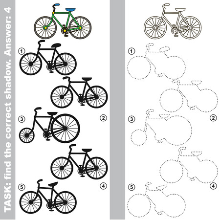 Bicycle with different shadows to find the correct one, compare and connect object with it true shadow, the educational kid game with simple gaming level. 向量圖像