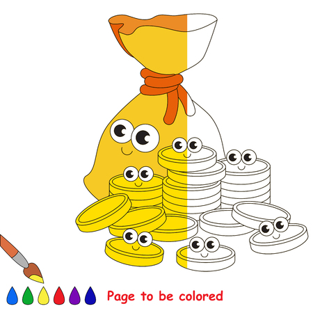 Funny Bagful and gold cute cash coins, the coloring book to educate preschool kids with easy gaming level, the kid educational game to color the colorless half by sample.