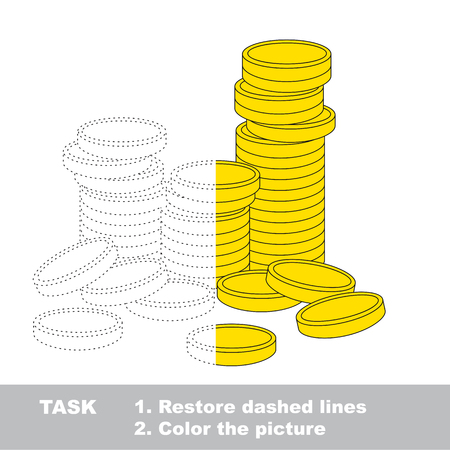 A lot of cash gold coins. Dot to dot educational game for kids, task is to trace and color the colorless half. Illustration
