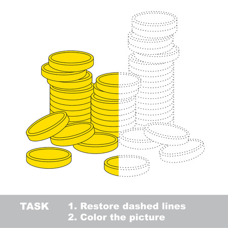 joining the dots: A lot of cash gold coins. Dot to dot educational game for kids, task is to trace and color the colorless half. Illustration