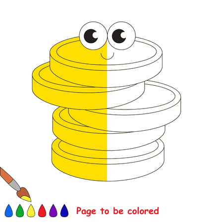 Cute Gold Cash Coins, the coloring book to educate preschool kids with easy gaming level, the kid educational game to color the colorless half by sample.