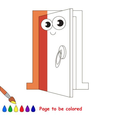 Entrance door, the coloring book to educate preschool kids with easy gaming level, the kid educational game to color the colorless half by sample.