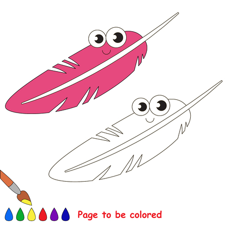 funny pink feather to be colored, the coloring book for preschool kids with easy educational gaming level.