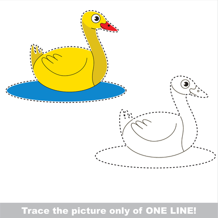 Yellow Duck. Dot to dot educational game for kids, the one line tracing page.