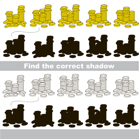 similar: Gold Coins set to find the correct shadow, the matching educational kid game to compare and connect objects and their true shadows, simple gaming level for preschool kids.