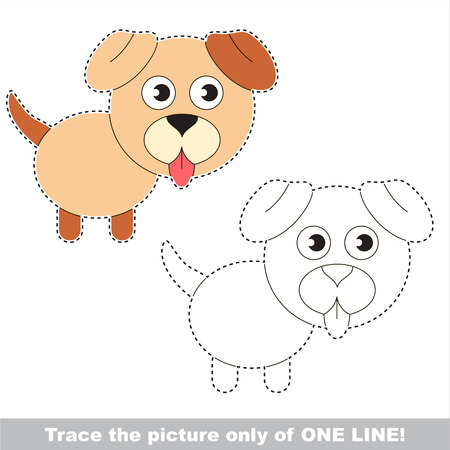joining the dots: Cute Pale Dog. Dot to dot educational game for kids, the one line tracing page.