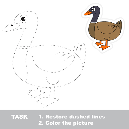 pondering: Brown Beautiful Duck. Dot to dot educational game for kids.