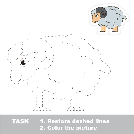 dashed: Bighorn Sheep. Dot to dot educational game for kids.