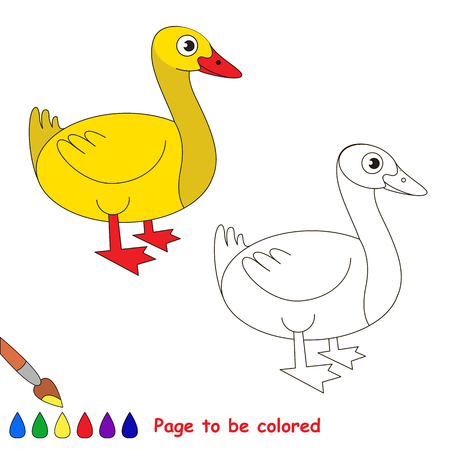 Duck to be colored, the coloring book for preschool kids with easy educational gaming level.