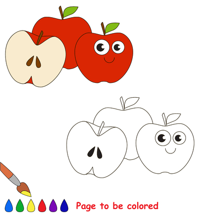 three colored: Three Red Apples to be colored, the coloring book for preschool kids with easy educational gaming level. Illustration