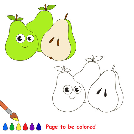 Three Green Pears to be colored, the coloring book for preschool kids with easy educational gaming level.