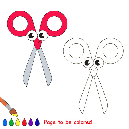 Red Scissors to be colored, the coloring book for preschool kids with easy educational gaming level. Illustration