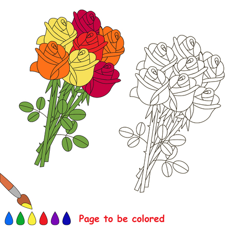 Rose Bouquet to be colored, the coloring book for preschool kids with easy educational gaming level.
