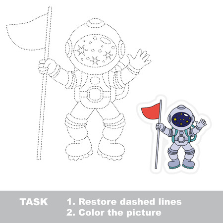 Spaceman. Dot to dot educational game for kids. Illustration