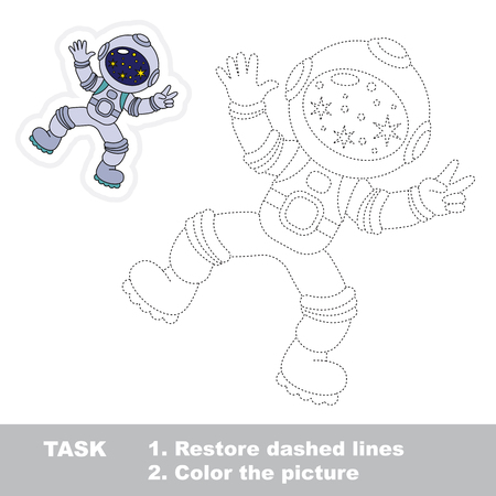 zero gravity: Astronaut. Dot to dot educational game for kids.