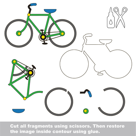 Use scissors and glue and restore the picture inside the contour. Easy educational paper game for kids. Simple kid application with Bicycle 向量圖像