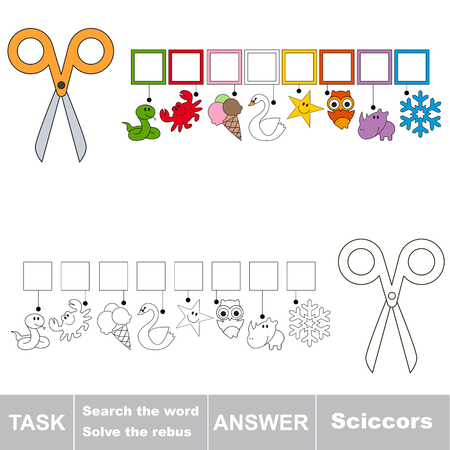 Educational puzzle game for kids. Find the hidden word Scissors.