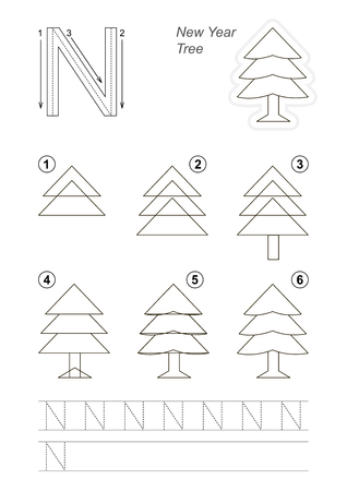 Vector illustrated alphabet with kid educational game to learn handwriting with easy gaming level for preschool kids, the drawing tutorial for letter N. The New Year Tree.