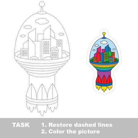 dashed: Flying Space City. Dot to dot educational game for kids.