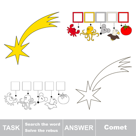 Educational puzzle game for kids. Find the hidden word Comet Illustration
