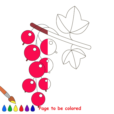 Red Currant, the coloring book to educate preschool kids with easy gaming level, the kid educational game to color the colorless half by sample.
