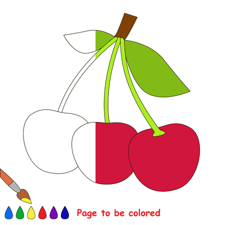 Three Red Cherries, the coloring book to educate preschool kids with easy gaming level, the kid educational game to color the colorless half by sample.