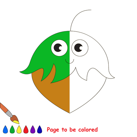Hazelnut, the coloring book to educate preschool kids with easy gaming level, the kid educational game to color the colorless half by sample. Illustration